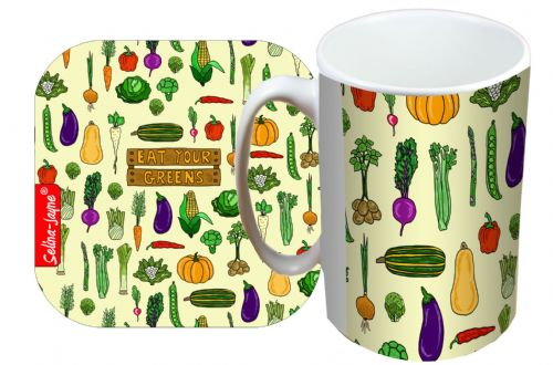 Selina-Jayne Garden Vegatables Limited Edition Designer Mug and Coaster Set